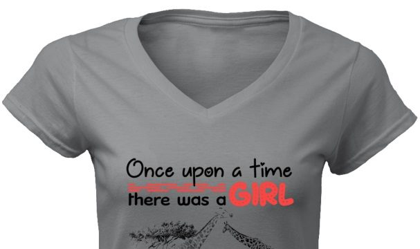 Once upon a time there was a girl who really loved Giraffes it was me women v-neck shirt